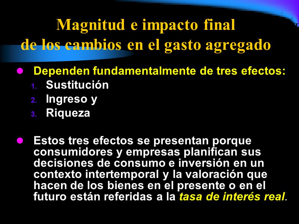 Magnitud e impacto final de los cambios en el gasto agregado