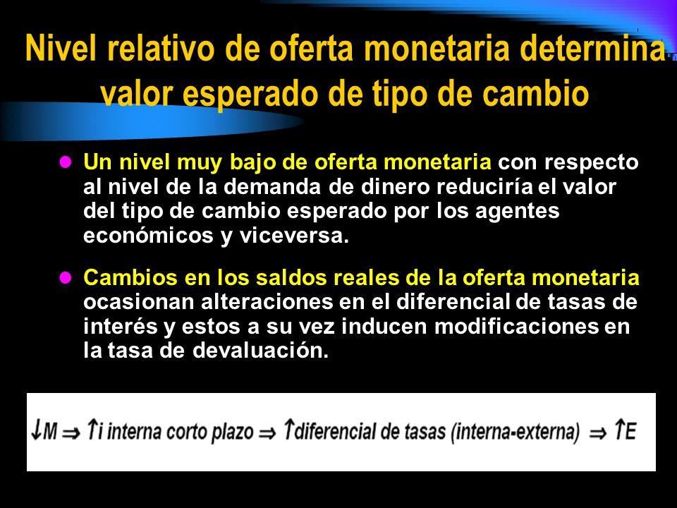 Nivel relativo de oferta monetaria determina valor esperado de tipo de cambio