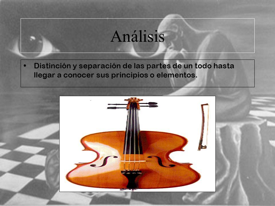 Análisis Distinción y separación de las partes de un todo hasta llegar a conocer sus principios o elementos.