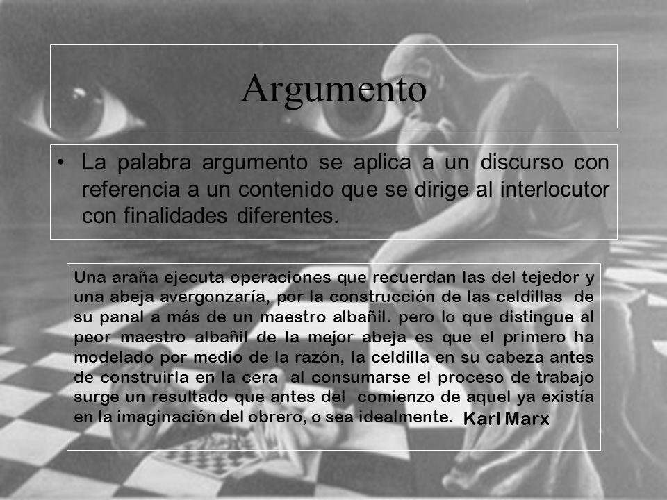Argumento La palabra argumento se aplica a un discurso con referencia a un contenido que se dirige al interlocutor con finalidades diferentes.