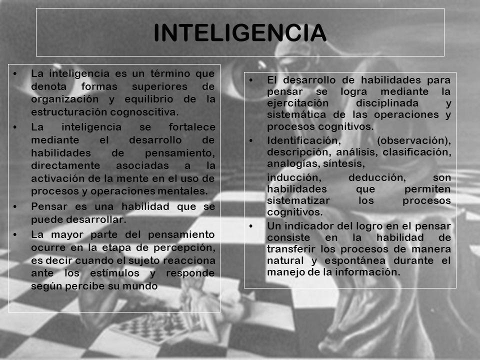 INTELIGENCIA La inteligencia es un término que denota formas superiores de organización y equilibrio de la estructuración cognoscitiva.