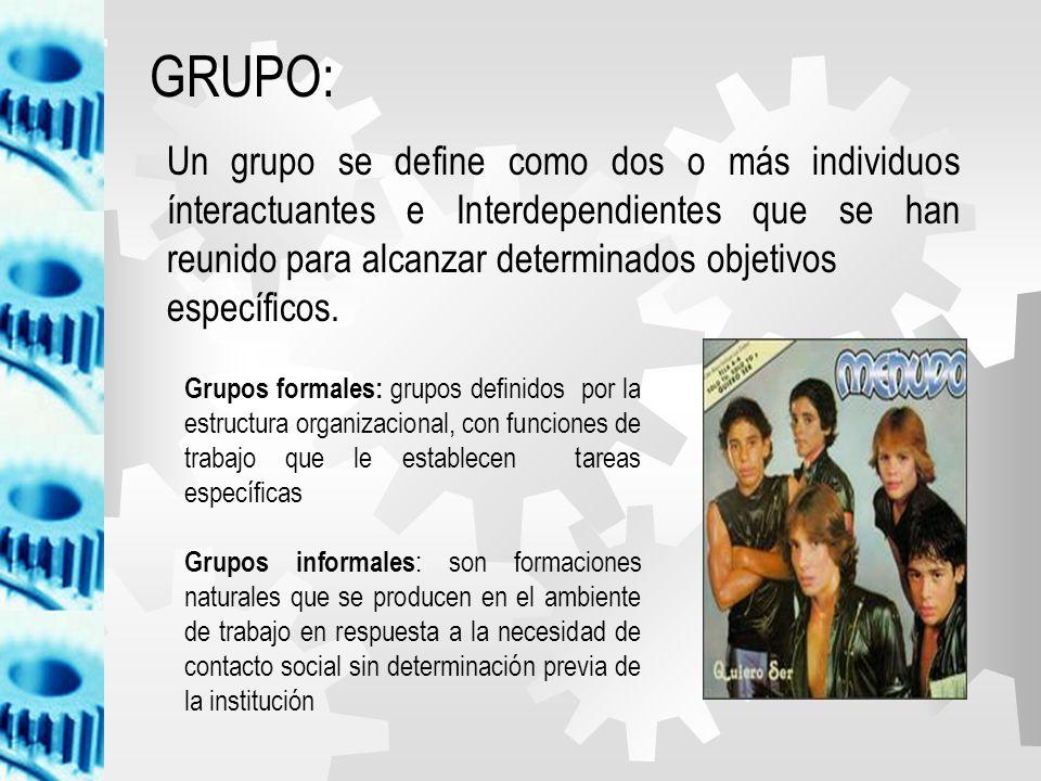 GRUPO: Un grupo se define como dos o más individuos ínteractuantes e Interdependientes que se han reunido para alcanzar determinados objetivos.