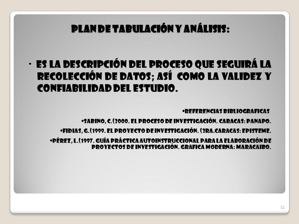 Plan de Tabulación y Análisis:
