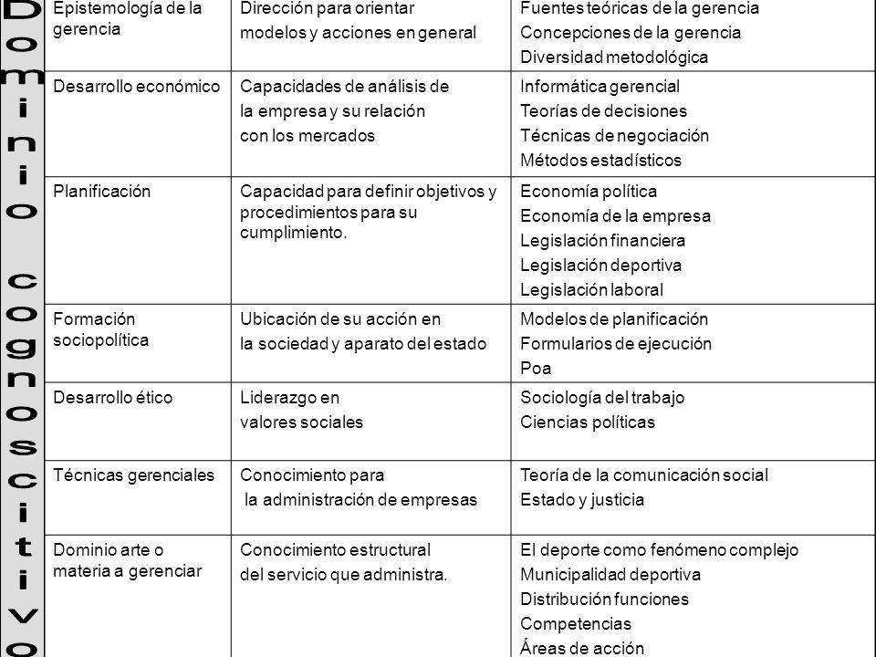 Dominio cognoscitivo Epistemología de la gerencia
