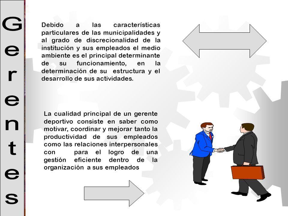 Debido a las características particulares de las municipalidades y al grado de discrecionalidad de la institución y sus empleados el medio ambiente es el principal determinante de su funcionamiento, en la determinación de su estructura y el desarrollo de sus actividades.