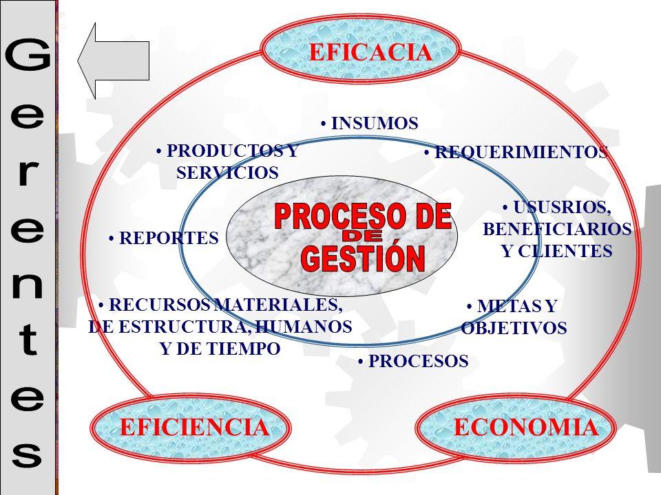 Gerentes PROCESO DE GESTIÓN DE EFICACIA EFICIENCIA ECONOMIA INSUMOS