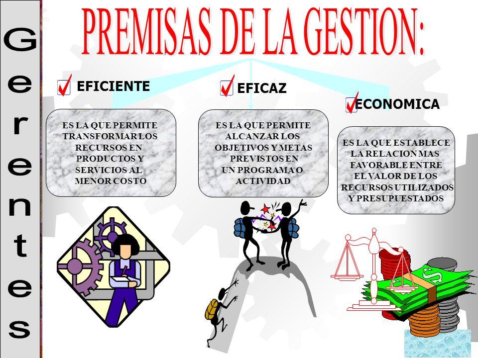 PREMISAS DE LA GESTION: