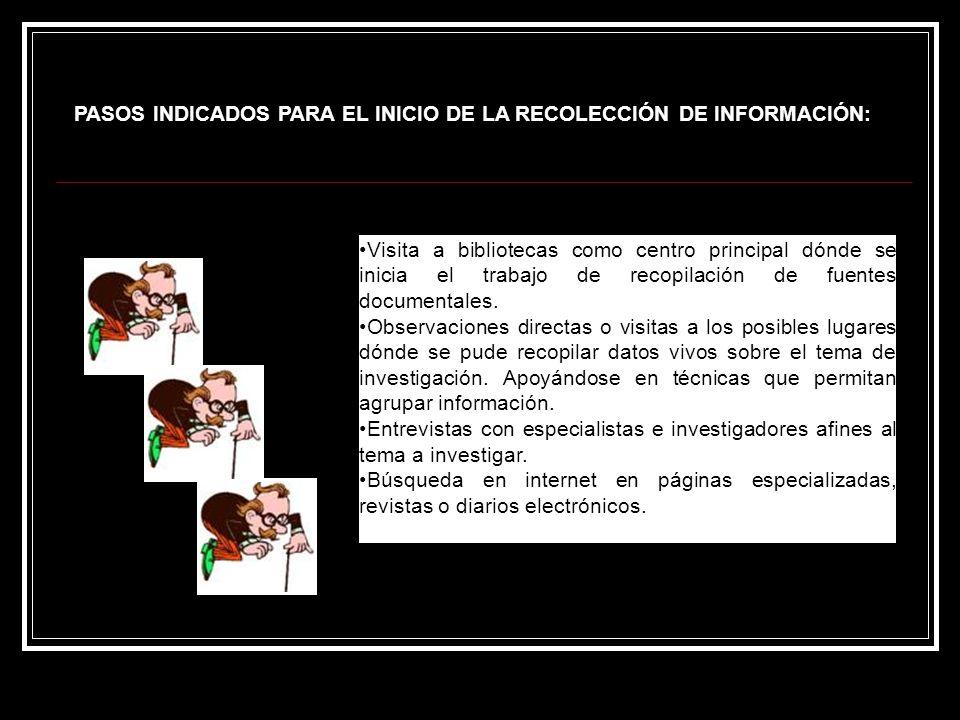 PASOS INDICADOS PARA EL INICIO DE LA RECOLECCIÓN DE INFORMACIÓN: