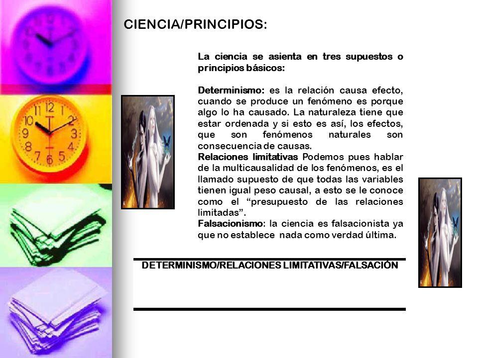 DETERMINISMO/RELACIONES LIMITATIVAS/FALSACIÓN