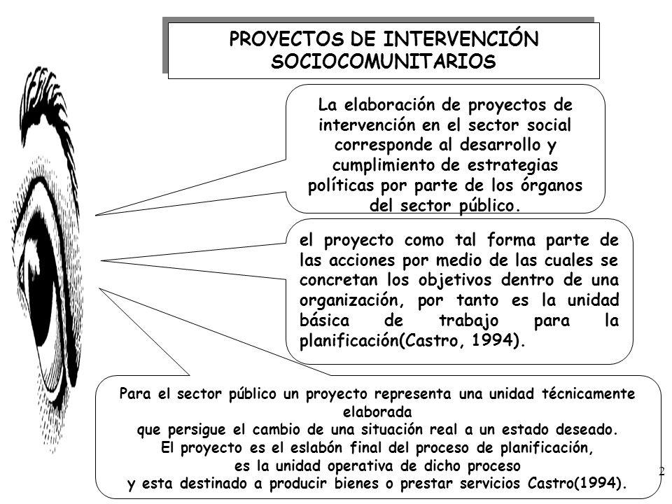 PROYECTOS DE INTERVENCIÓN SOCIOCOMUNITARIOS