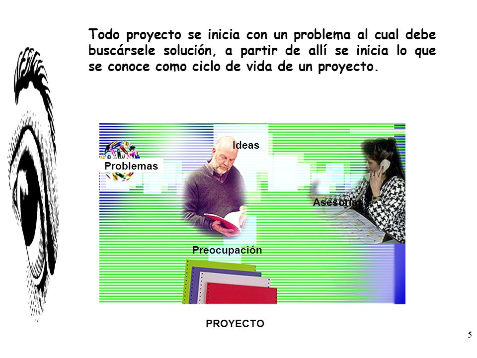 Todo proyecto se inicia con un problema al cual debe buscársele solución, a partir de allí se inicia lo que se conoce como ciclo de vida de un proyecto.