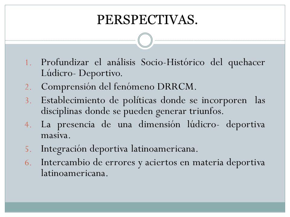 PERSPECTIVAS. Profundizar el análisis Socio-Histórico del quehacer Lúdicro- Deportivo. Comprensión del fenómeno DRRCM.