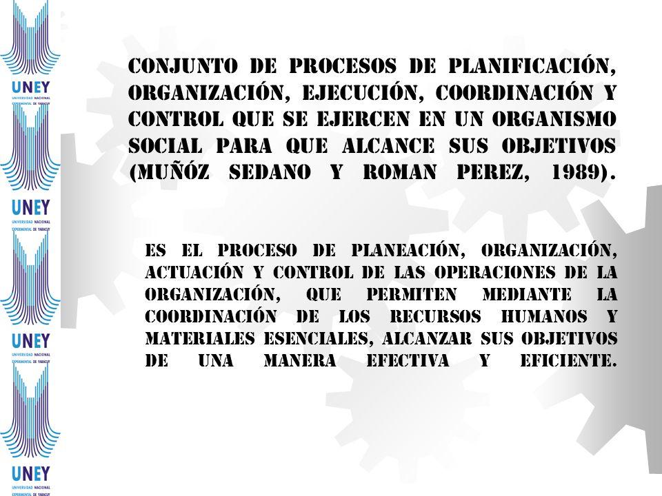 Conjunto de procesos de planificación, organización, ejecución, coordinación y control que se ejercen en un organismo social para que alcance sus objetivos (Muñóz Sedano y Roman Perez, 1989).