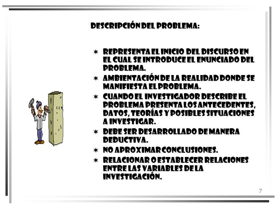 DESCRIPCIÓN DEL PROBLEMA: