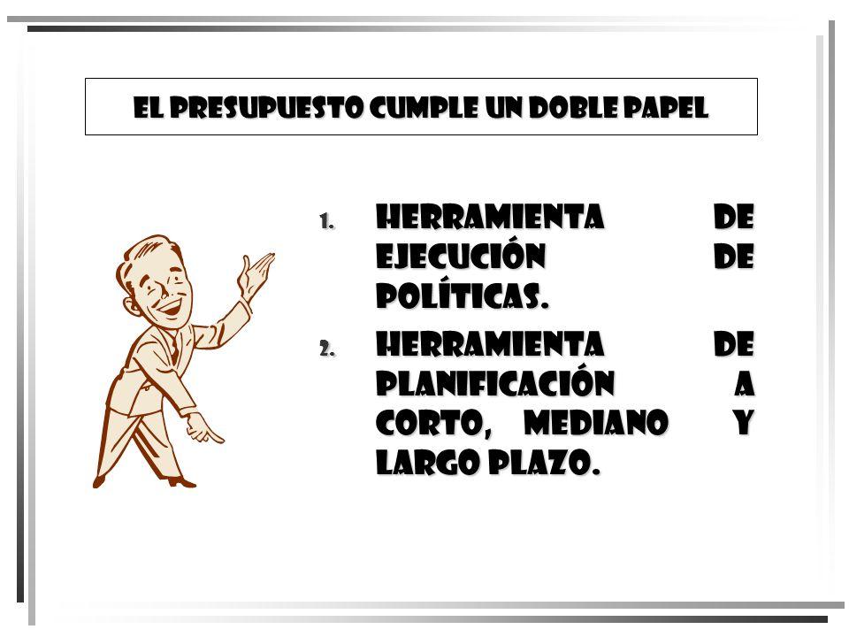 EL PRESUPUESTO CUMPLE UN DOBLE PAPEL