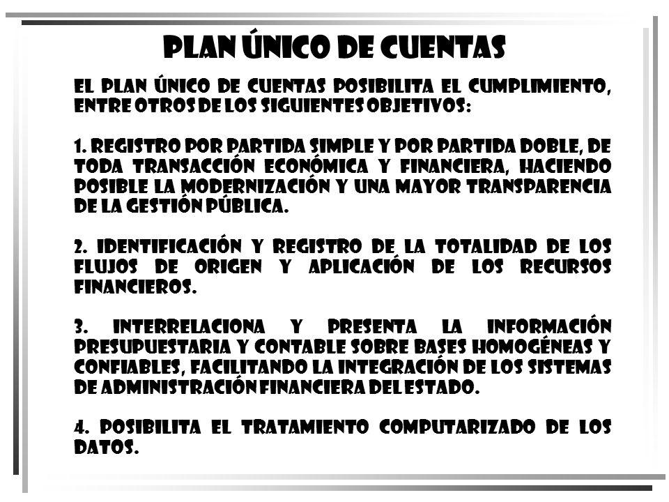 Plan Único de Cuentas El Plan Único de Cuentas posibilita el cumplimiento, entre otros de los siguientes objetivos: