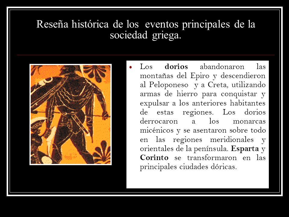 Reseña histórica de los eventos principales de la sociedad griega.