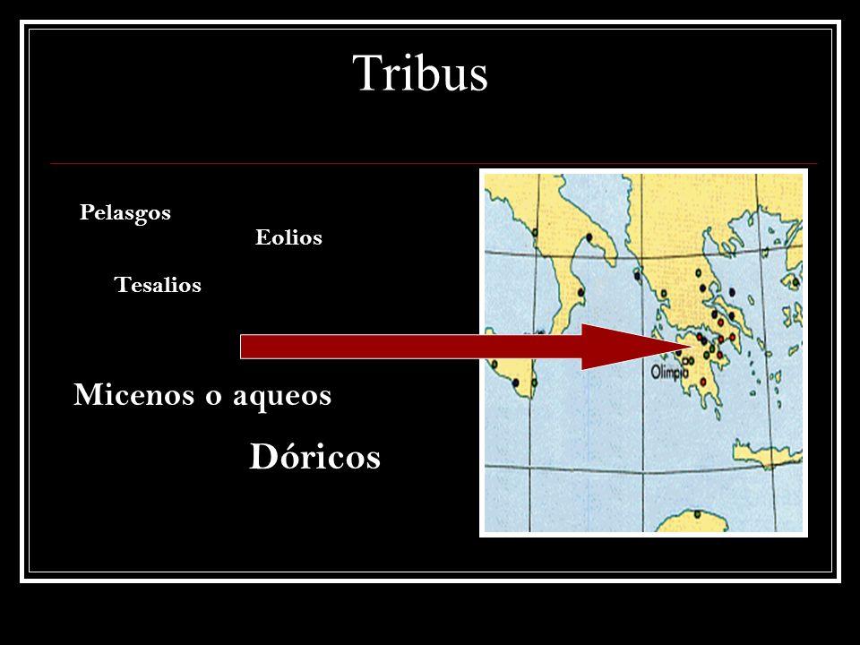 Tribus Pelasgos Eolios Tesalios Micenos o aqueos Dóricos