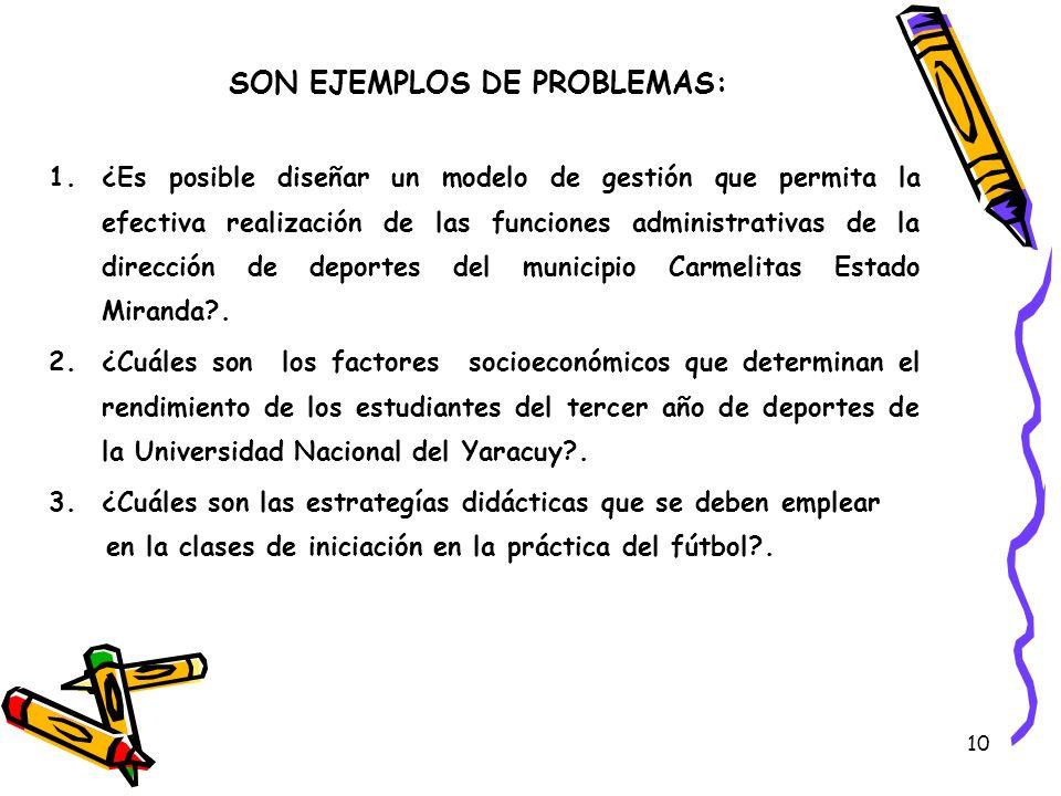 SON EJEMPLOS DE PROBLEMAS: