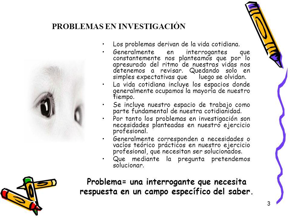 PROBLEMAS EN INVESTIGACIÓN
