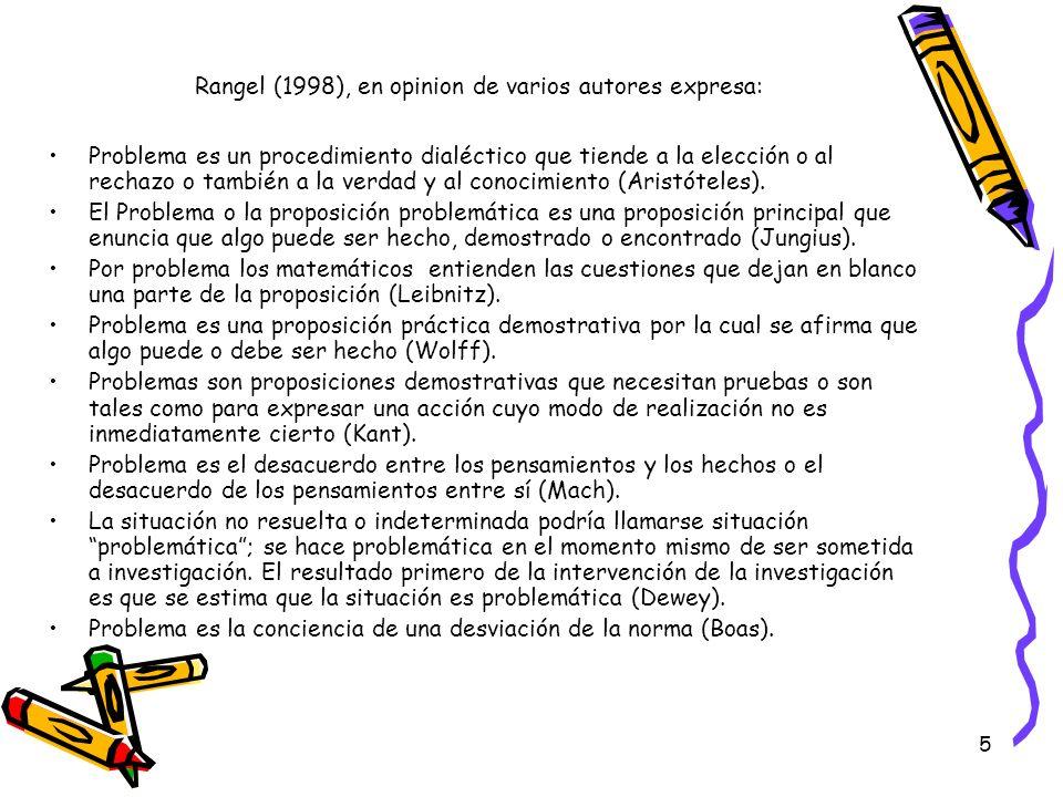Rangel (1998), en opinion de varios autores expresa: