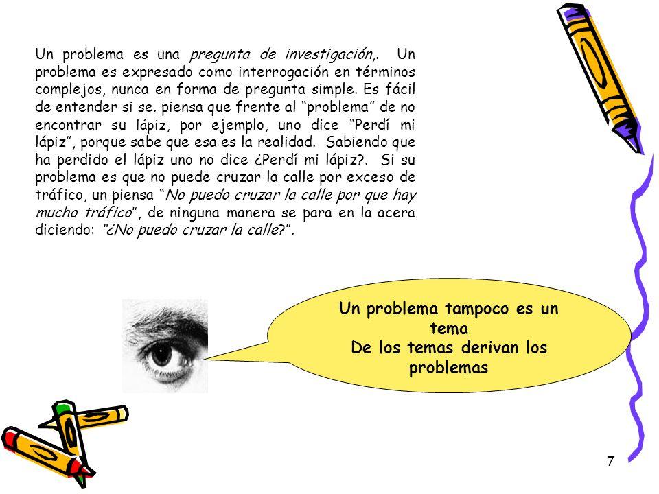 Un problema tampoco es un tema De los temas derivan los problemas