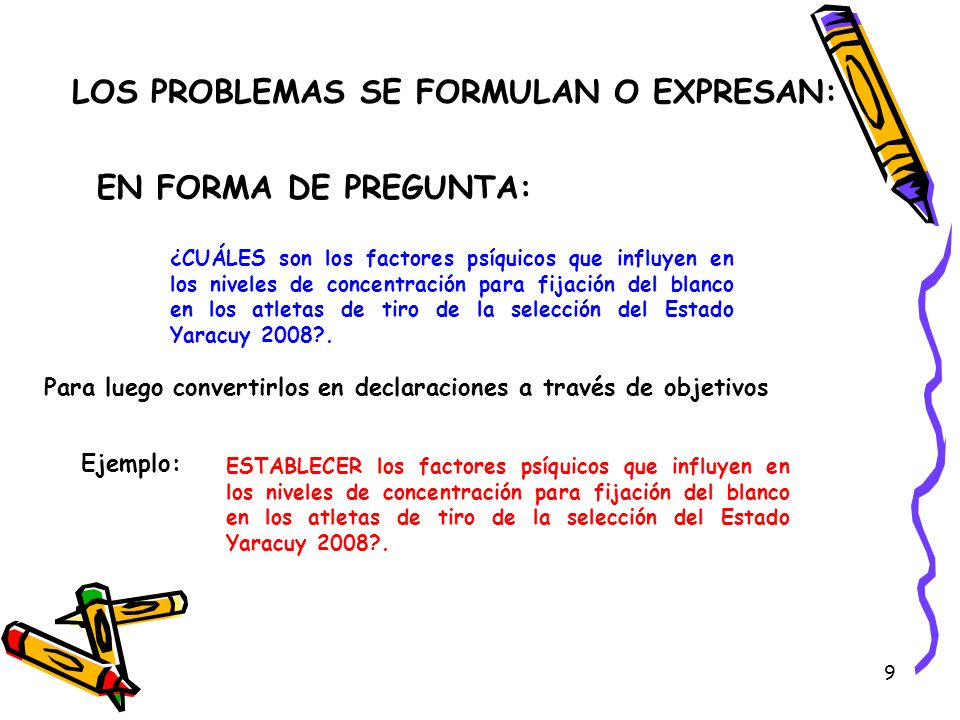 LOS PROBLEMAS SE FORMULAN O EXPRESAN: