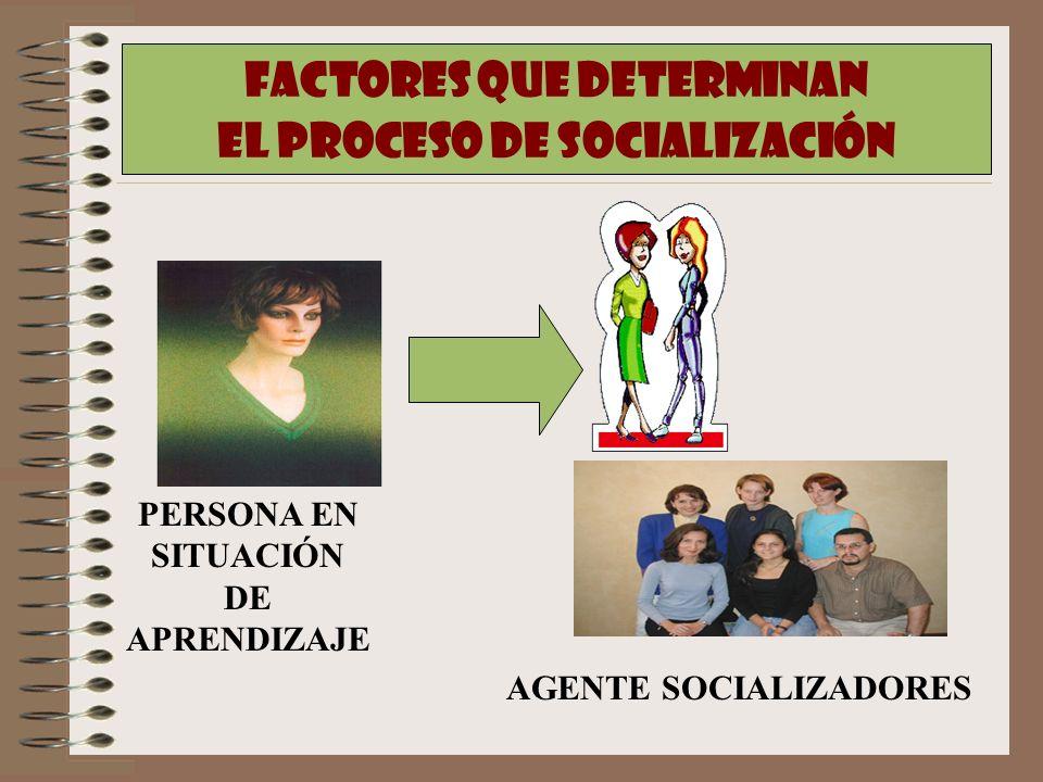 FACTORES QUE DETERMINAN EL PROCESO DE SOCIALIZACIÓN