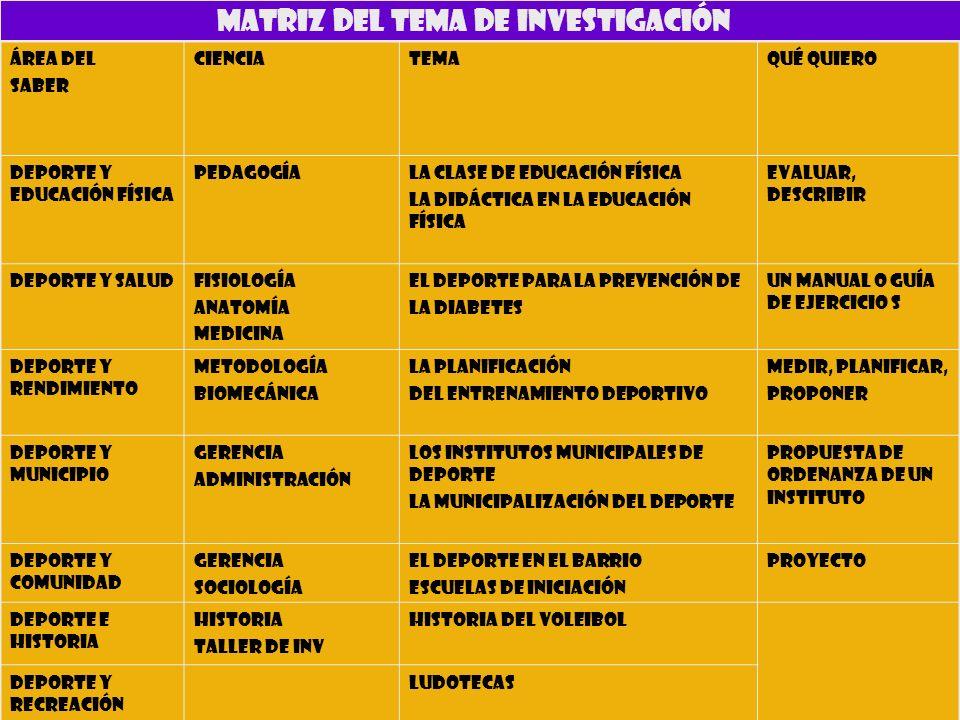 MATRIZ DEL TEMA DE INVESTIGACIÓN