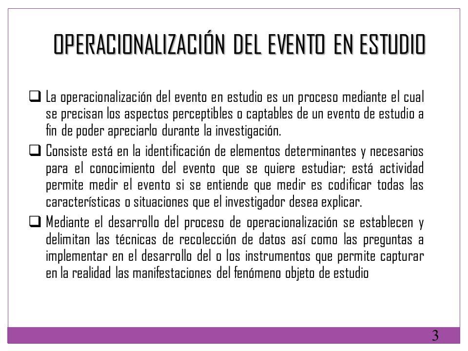 OPERACIONALIZACIÓN DEL EVENTO EN ESTUDIO