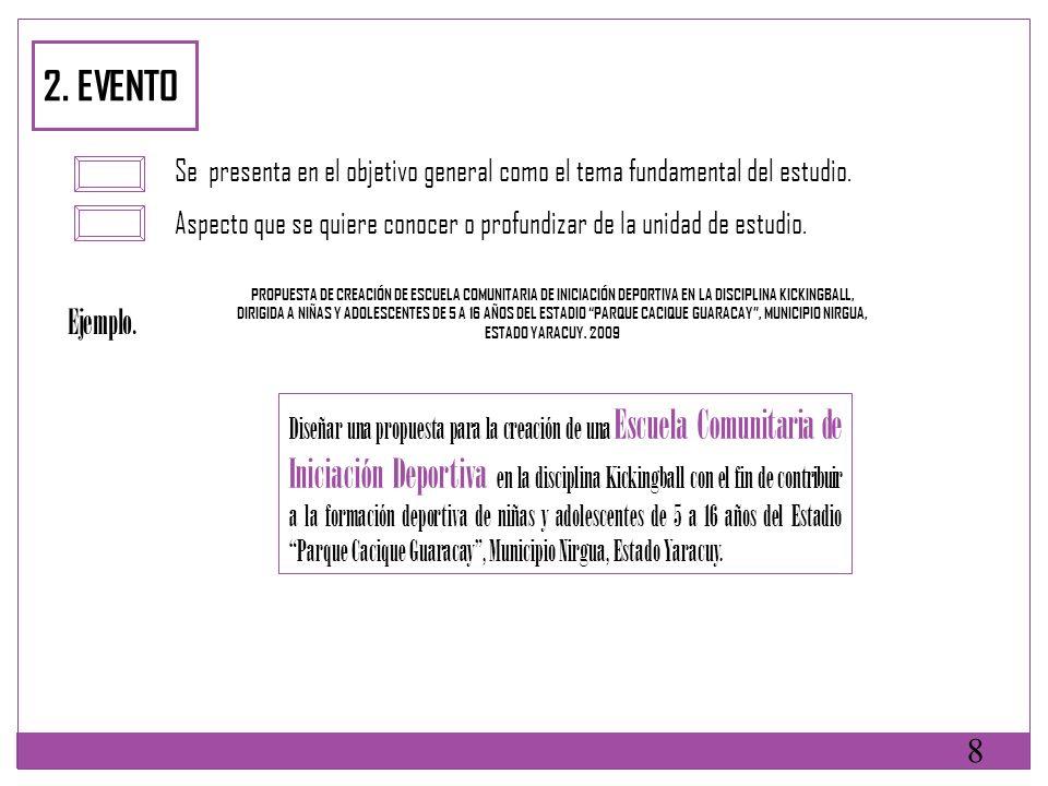 2. EVENTO Se presenta en el objetivo general como el tema fundamental del estudio.