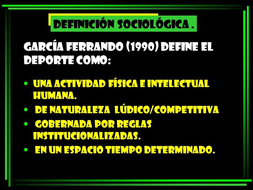 García Ferrando (1990) define el deporte como:
