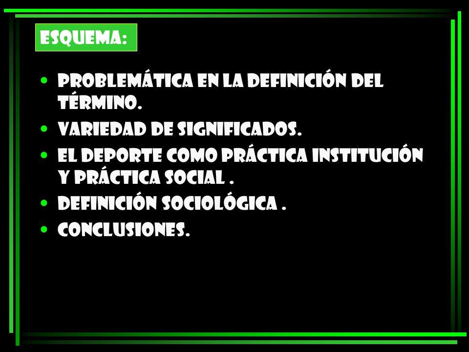 ESQUEMA:Problemática en la definición del término. Variedad de significados. El deporte como práctica institución y práctica social .