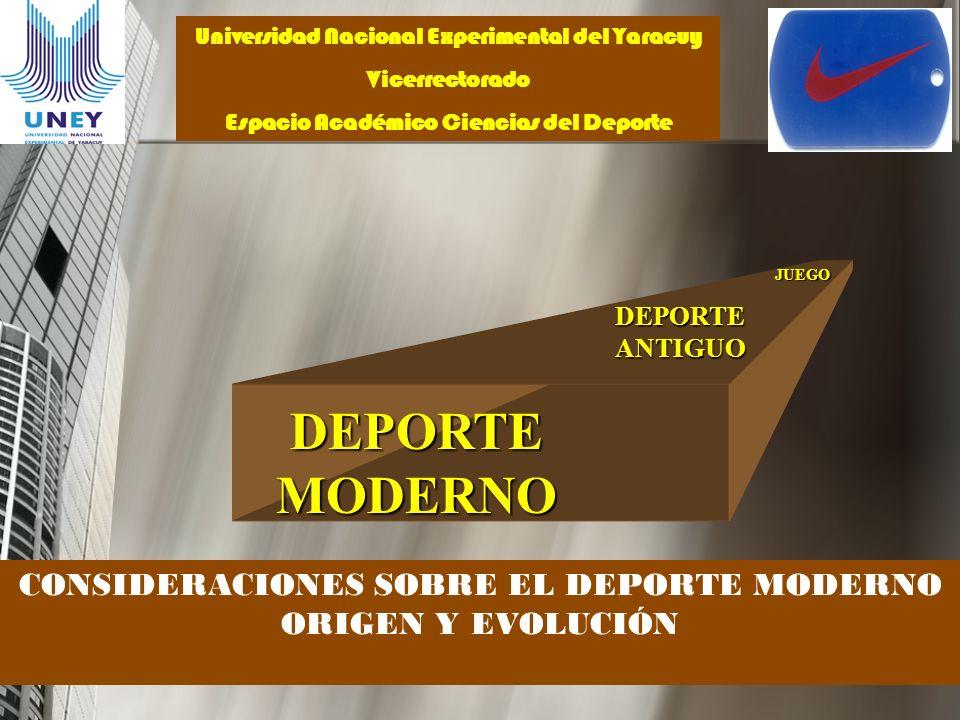 DEPORTE MODERNO CONSIDERACIONES SOBRE EL DEPORTE MODERNO