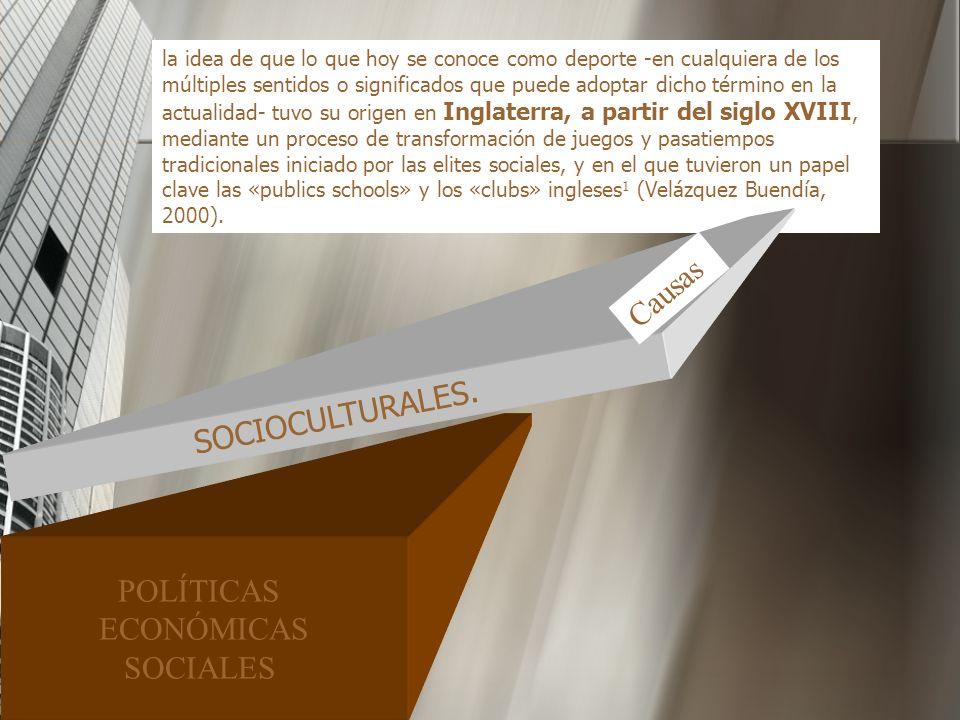 Causas SOCIOCULTURALES. POLÍTICAS ECONÓMICAS SOCIALES