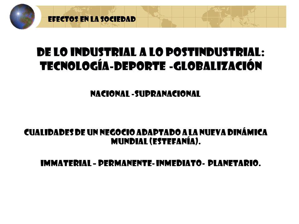 Efectos en la sociedad DE LO INDUSTRIAL A LO POSTINDUSTRIAL: TECNOLOGÍA-DEPORTE -GLOBALIZACIÓN. NACIONAL -SUPRANACIONAL.