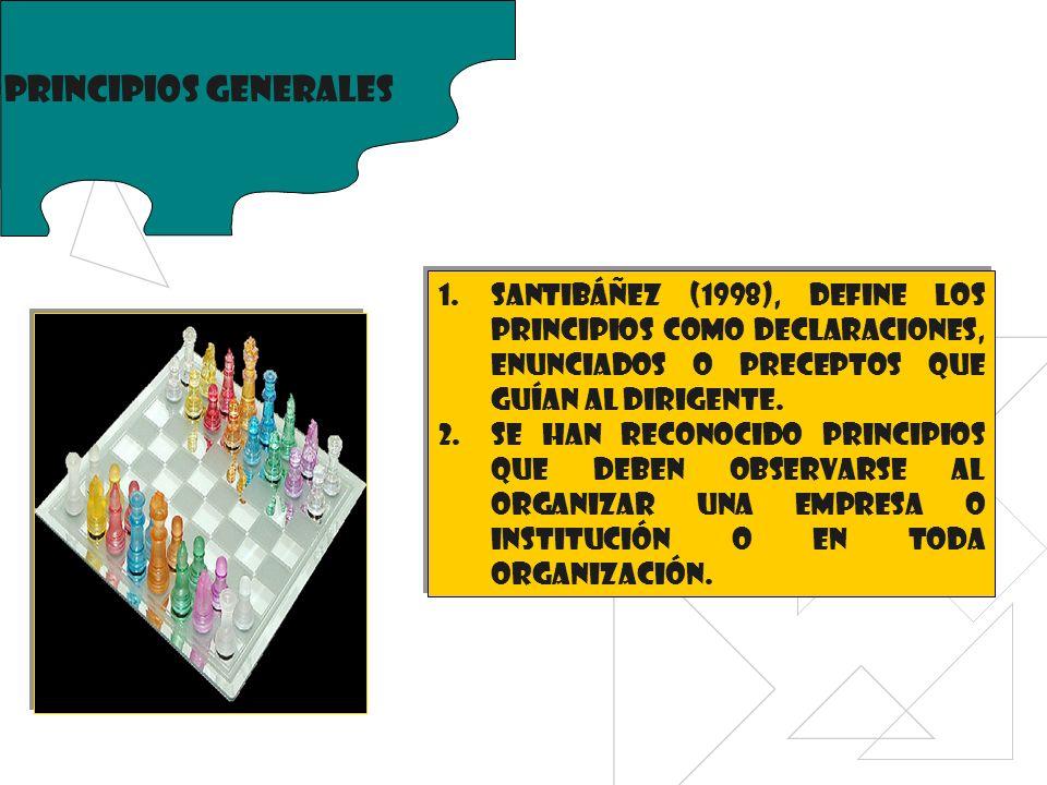 Principios generales Santibáñez (1998), define los principios como declaraciones, enunciados o preceptos que guían al dirigente.