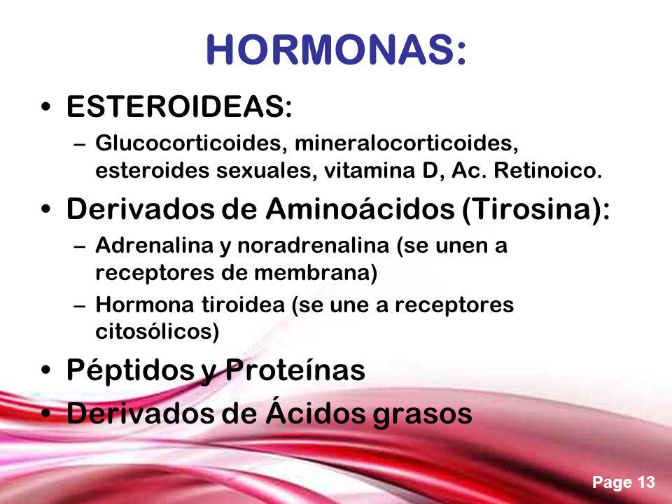 HORMONAS: ESTEROIDEAS: Derivados de Aminoácidos (Tirosina):