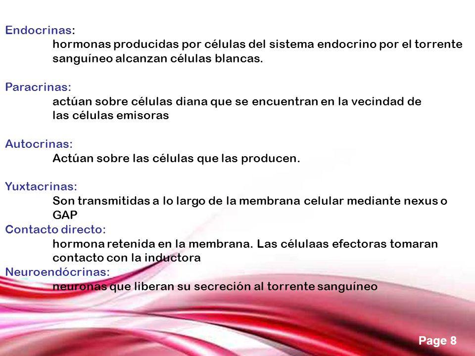 Endocrinas: hormonas producidas por células del sistema endocrino por el torrente sanguíneo alcanzan células blancas.