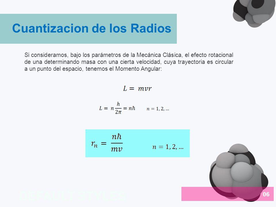 Cuantizacion de los Radios