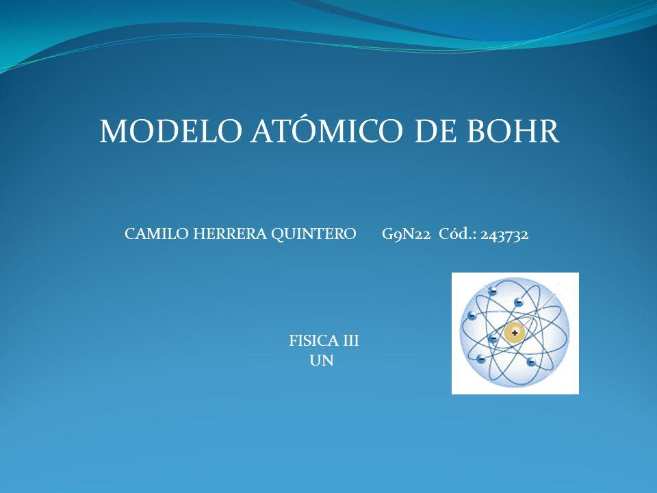 MODELO ATÓMICO DE BOHR CAMILO HERRERA QUINTERO G9N22 Cód.: 243732
