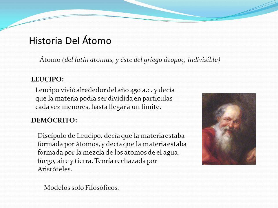 Historia Del Átomo Átomo (del latín atomus, y éste del griego άτομος, indivisible) LEUCIPO: