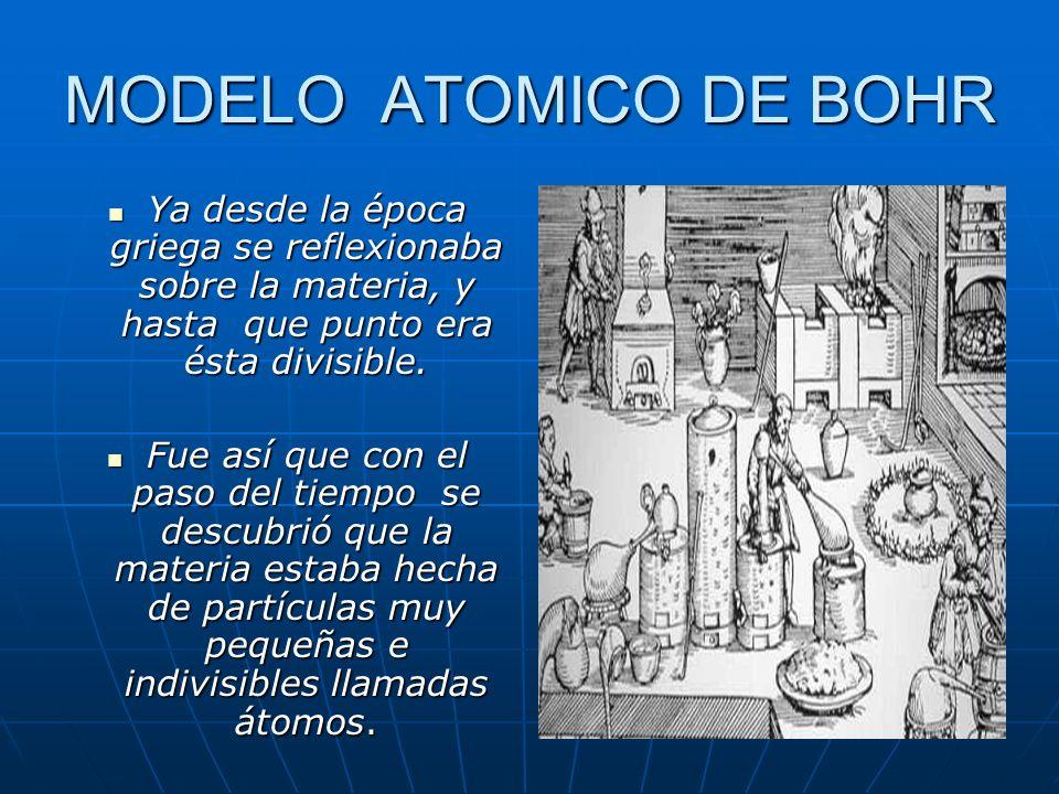 MODELO ATOMICO DE BOHR Ya desde la época griega se reflexionaba sobre la materia, y hasta que punto era ésta divisible.