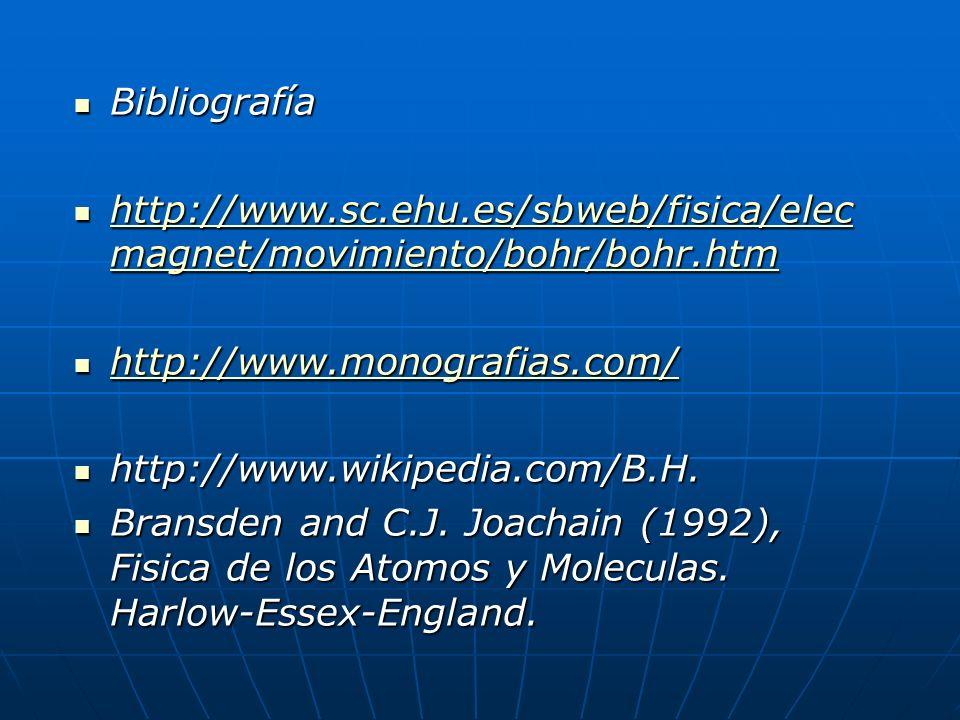 Bibliografía http://www.sc.ehu.es/sbweb/fisica/elecmagnet/movimiento/bohr/bohr.htm. http://www.monografias.com/