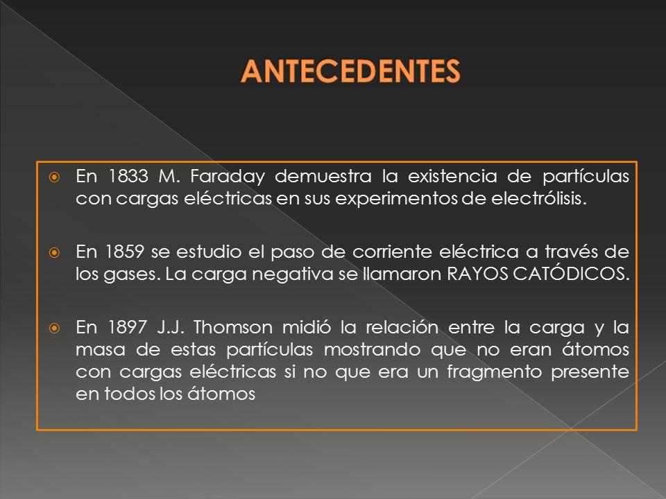 ANTECEDENTES En 1833 M. Faraday demuestra la existencia de partículas con cargas eléctricas en sus experimentos de electrólisis.