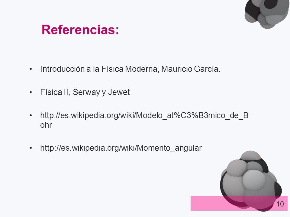 Referencias: Introducción a la Física Moderna, Mauricio García.