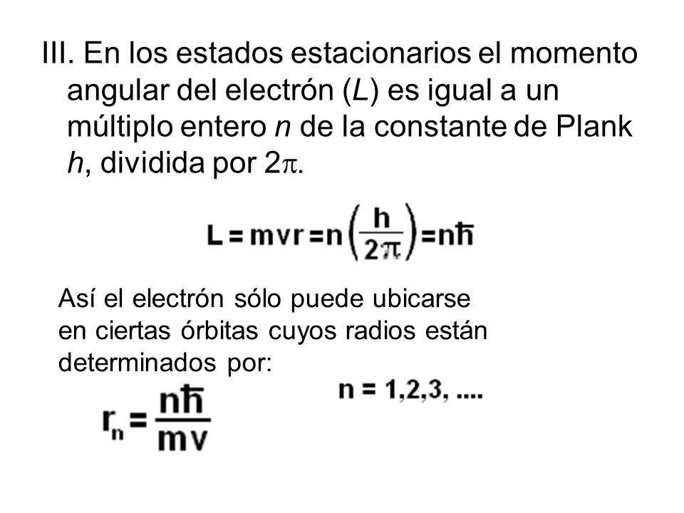 III. En los estados estacionarios el momento angular del electrón (L) es igual a un múltiplo entero n de la constante de Plank h, dividida por 2p.