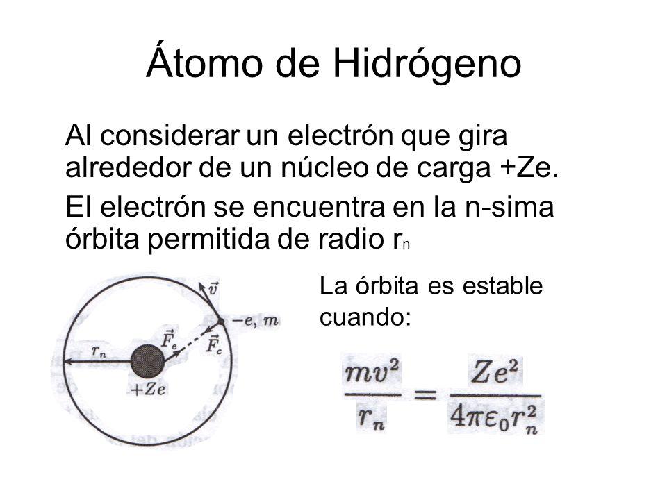 Átomo de Hidrógeno Al considerar un electrón que gira alrededor de un núcleo de carga +Ze.