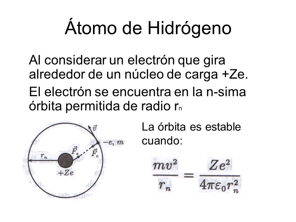 Átomo de HidrógenoAl considerar un electrón que gira alrededor de un núcleo de carga +Ze.