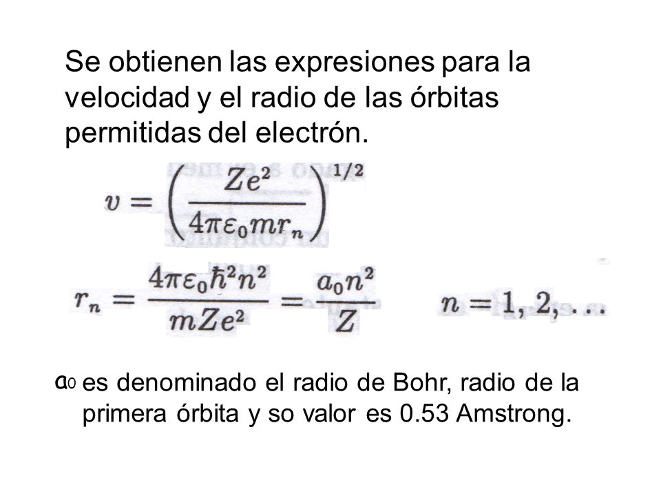 Se obtienen las expresiones para la velocidad y el radio de las órbitas permitidas del electrón.